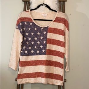 EUC Charming Charlie American Flag Sweater